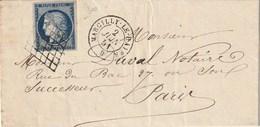 N° 4 Sur Lettre T à D 15 De MARCILLY Le HAYER Pour PARIS 2 Juin 1851 - 1849-1876: Klassik