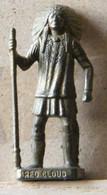MONDOSORPRESA, (SLDN°121) KINDER FERRERO, SOLDATINI IN METALLO INDIANI PRIMA SERIE, RED CLOUDE, 40 MM FERRO - Figurines En Métal