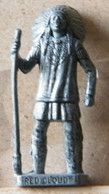MONDOSORPRESA, (SLDN°123) KINDER FERRERO, SOLDATINI IN METALLO INDIANI PRIMA SERIE,RED CLOUDE  40 MM VECCHIO ARGENTO - Figurine In Metallo