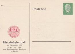 ALLEMAGNE ENTIER POSTAL PRIVE POSTKARTE PHILATELISTENBALL 1931  DEUTSCHES REICH 5 M  RARE !!! - Allemagne