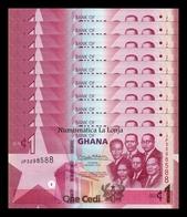 Ghana  Lot Bundle 10 Banknotes 1 Cedi 2019 Pick New SC UNC - Ghana