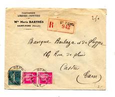 Lettre Recommandee Saint Pons Sur Semeuse Paix Entete Parfumerie Barthes - Marcophilie (Lettres)