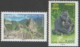 France Neufs Sans Charnière 2008 Faune Animal Gorille Machu Picchu YT Service UNESCO 140 141 - Ungebraucht