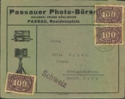 1923, PAASAUER PHOT-BÖRSE, Drucksache In Die Schweiz - Fotografie