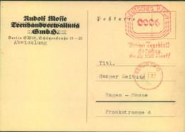 """1937, Karte Mit 6 Pfg. """"Bafra"""" Absenderfreistempel """"BERLIN SW 19"""" - R. Mosse Haus - Germania"""