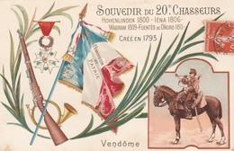 CPA COULEUR: SOUVENIR DU 20e CHASSEURS HOHENLINDEN 1800 IÉNA 1806 WAGRAM 1809 FUENTÈS DE ONORO 1811 VENDÔME (41) .ÉCRITE - Vendome