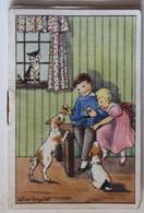 Calendrier 1954 Enfants Avec Chiens Illustrateur Calver Rogniat Fleuriste Bérangère 76 Rue Cambronne Paris - Calendarios