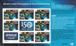 2015 Uruguay ITU Satellite   Miniature Sheet  Of 7 + 2 Tabs Complete  MNH - Uruguay