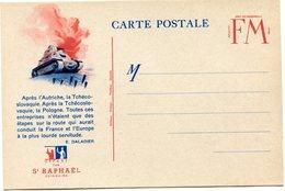 FRANCE CARTE DE FRANCHISE MILITAIRE NEUVE AVEC ILLUSTRATION + TEXTE DE E. DALADIER OFFERTE PAR ST RAPHAEL QUINQUINA - Marcophilie (Lettres)
