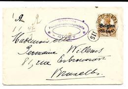 LE0004. CENSURE DE GIVET. Occupation Allemande En Belgique. N° 15 MESNIL St BLAISE - Censure Ovale V. BRUXELLES. TB - Marcophilie (Lettres)