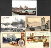 Köln Koeln Cologne - Lot 5 Postcards (animation, Südbrücke Litho Rosenblatt...) - Koeln