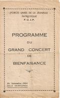 Saintes Programme Du Grand Concert De Bien Faisance Salle Saintonge 24 Decembre 1944 - Saintes