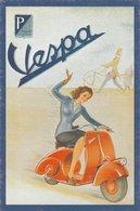 VESPA Rouge, Jeune Femme En Bleu. Panneau P Piaggio Genova. Vintage Gift Collection - Moto