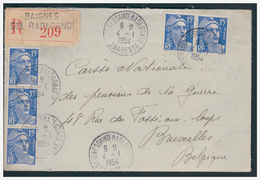 Gandon N° 886sur Lettre Rec. De BAIGNES STE RADEGONDE Pour BRUXELLES Du 4.1.54. - Covers & Documents