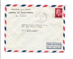 REUNION LETTRE DE SAINT JOSEPH POUR LA FRANCE 1969 - Reunion Island (1852-1975)