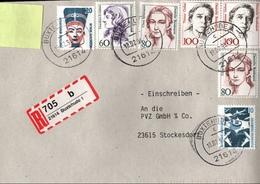! 4 Einschreiben, 1994, 3 X Selbstklebende R-Zettel Aus Buxtehude 21614 - BRD