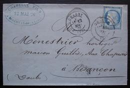 Chagny 1876 Chapelle Fils, Vins De Bourgogne Ancienne Maison Léautier  Brosselin Cachet De Passe 1307 à L'arrière - 1849-1876: Classic Period