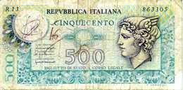 ITALIE - Republica Italiana - 500 Lire - D.P.R 05-06- 1976 - E.D.M 20-12-1976 - Série R13  863305 - P. 95 - AB - [ 2] 1946-… : République