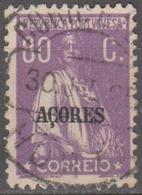 "AÇORES-1924-1928, Tipo «CERES». Selos Do Cont. C/ Sobrec. "" AÇORES "" 80 C.  D. 12x11 1/2 ( P. Liso )   (o) Afinsa Nº 208 - Azoren"