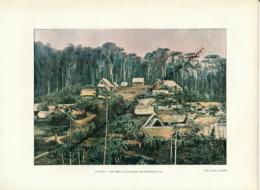 Document (1880) : Guyane, Saint-Elie, Dieu-Merci, Chercheurs D'Or Photographie Aquarellée (Aquarelle) Souvenir De Voyage - Guyane