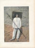 Document (1880) : Guyane, Un Mineur, Costume De Travail, Photographie Aquarellée, (Aquarelle), Souvenir De Voyage - Guyane
