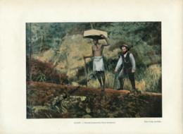 Document (1880) : Guyane, Kentzer, Chercheurs D'or En Promenade, Photographie Aquarellée, (Aquarelle) Souvenir De Voyage - Guyane