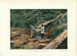 Document (1880) : Guyane, Saint-Elie, La Batée, Recherche De L'or,Photographie Aquarellée (Aquarelle) Souvenir De Voyage - Guyane