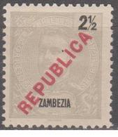 ZAMBÉZIA - 1917, D.Carlos I, Com Sobrecarga «REPUBLICA» 2 1/2 R.  * MH  Afinsa Nº 90 - Zambezia