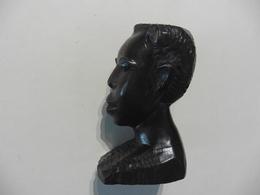 Tête Africaine ,Portrait Sculpté En Bois Noble - Art Africain