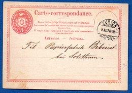 Suisse -  Entier Postal De Zurich --   8/11/1870 - Interi Postali