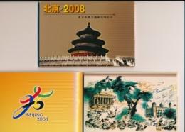 China - 2001 - Beijing 2008 - Set Of 8 Prestamped Postcards In Strip In Booklet - Cancelled - New - Postkaarten