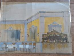 Projet De Décor De Théâtre : Salle De Restaurant, Milieu XXe Siècle - Dessins