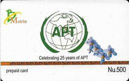 Bhutan - BMobile - APT 25th Anniv. (Black Messages) - GSM Refill 500Nu, Used - Bhutan