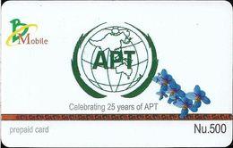 Bhutan - BMobile - APT 25th Anniv. (Gray Messages) - GSM Refill 500Nu, Used - Bhutan