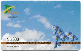 Bhutan - BMobile - Blue Flowers And Clouds - GSM Refill 300Nu, Used - Bhutan