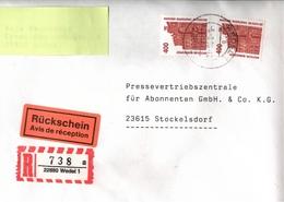 ! 2 Einschreiben Dabei 1x Mit Rückschein 1994, 1996, R-Zettel Aus Wedel, 22880 - Etiquettes 'Recommandé' & 'Valeur Déclarée'