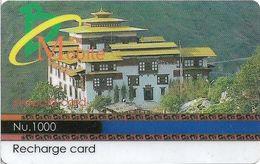 Bhutan - BMobile - Building (Face Value On Blue/Black Stripe) - GSM Refill 1000Nu, Used - Bhutan