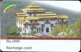 Bhutan - BMobile - Building (Face Value On White Field) - GSM Refill 1000Nu, Used - Bhutan