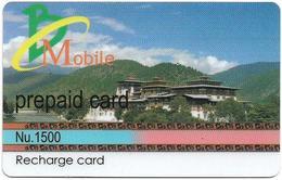 Bhutan - BMobile - Building Between Green Nature - GSM Refill 1500Nu, Used - Bhutan