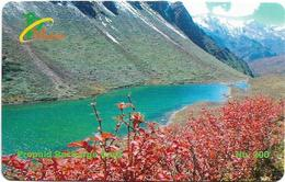 Bhutan - BMobile - Lake Landscape - GSM Refill 200Nu, Used - Bhutan