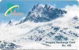 Bhutan - BMobile - Snowy Mountain (Type #1) - GSM Refill 100Nu, Used - Bhutan