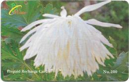 Bhutan - BMobile - White Flower #1 - GSM Refill 200Nu, Used - Bhutan