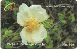 Bhutan - BMobile - White Flower #2 - GSM Refill 300Nu, Used - Bhutan