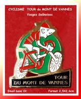 SUPER PIN'S CYCLISME : TOUR DU MONT DE VANNES Dans Les VOSGES SAÔNOISES, émail Base Or, Format 2,5X3,6cm - Cycling