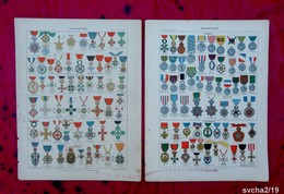 Lot  2 Planches 32,5 X 25 Cm- Gravures Issues D'un Ancien Larousse : DECORATIONS - History