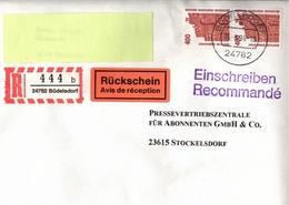 ! 1 Einschreiben Mit Rückschein 1996, R-Zettel Aus Büdelsdorf Bei Rendsburg, 24782 - BRD