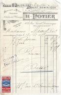 VIGNETTE  GALERIE  SAINT - DOMINIQUE  A  PARIS  SUR  FACTURE  .  1909  . - Erinnophilie