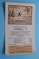ASPERAL - A Suppositoria / Labo Asperal HOVE Boechoutsestwg. - Apotheker Vansteenkiste ( +/- 11,5 X 20 Cm. > Zie Foto ) - Drogisterij En Apotheek