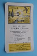 ASPERAL B - Suppositoria / Labo Asperal HOVE Boechoutsestwg.- Apotheker Vansteenkiste ( +/- 11,5 X 20 Cm. > Zie Foto ) - Produits Pharmaceutiques