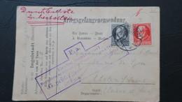 Carte Formulaire Du Camp De Ingolstadt Fort Von Der Tann 1915 Affranchie Avec Timbres Baviere Pour Chalons - WW I